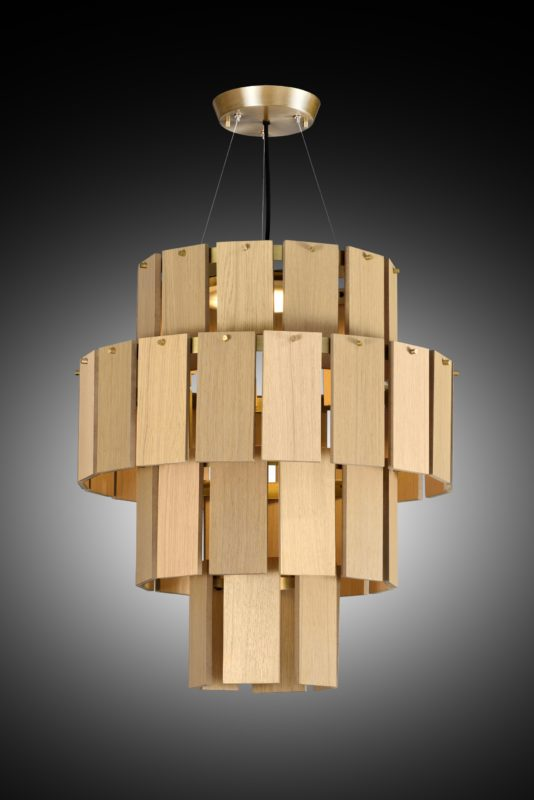 Quarz by Fambuena - Suspended chandelier style fixture finished with wood